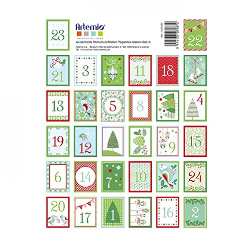 Youdoit 64 Stickers red and green figures for Advent Calendar