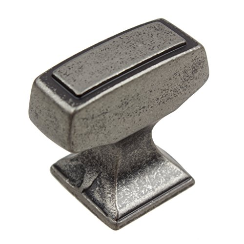 GlideRite Hardware 87390-WN-100 1.125 inch Rectangle Deco Weathered Nickel Cabinet Knobs 100 Pack by GlideRite Hardware (Image #5)