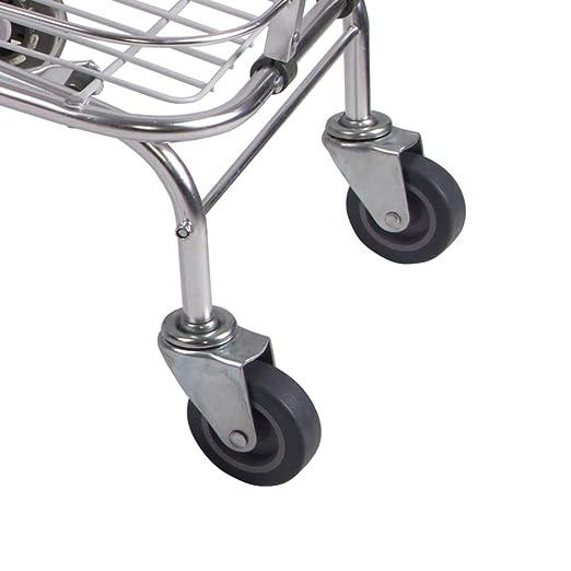 QIANGDA-Carros Carrito Compra Plegable Remolque De Barra De Dibujo con Asiento Marco De Aleación De Aluminio Plegado Portátil Ruedas De PVC (Tamaño : 60 x ...