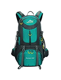 Travel Hiking Backpack Nylon Waterproof Unisex Outdoor Sports Camping Rucksack Large Blue 50L Daypack (Blue-50L)