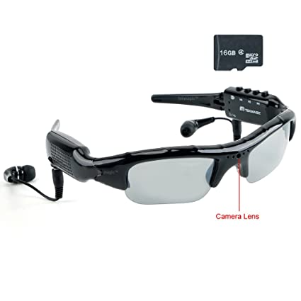 TEKMAGIC 16GB Mini Cámara Espía MP3 Reproductor de Auriculares Deportiva Polarizada Gafas de Sol Portátil DV