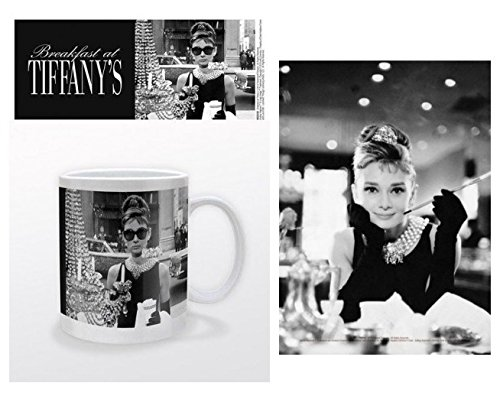 Set: Audrey Hepburn, Tiffany's Shop Window Photo Coffee Mug (4x3 inches) And 1 Audrey Hepburn, Postcard (6x4 - Audrey Shades Hepburn