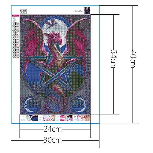 Diamond Painting Tool Included DIY 5D Diamond Painting Kit Full Square Drill Sealed Red Dragon Embroidery Cross Stitch DIY Art Craft Home Wall D/écor 11.81x15.75