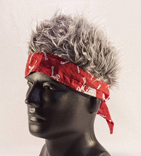 [Red Barbed Wire Bandana With Gray Hair] (Biker Kid Costume)