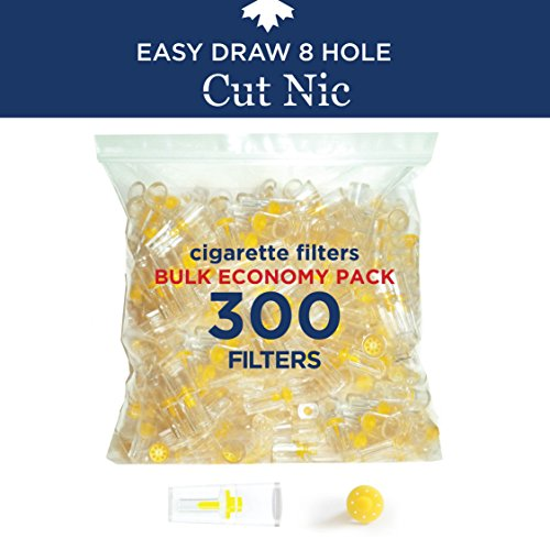 Cut-Nic 8 HOLE EASY DRAW Disposable Cigarette Filters - Bulk Economy Pack (300 Per Pack) Filter Tips (Filters Tar Trap)
