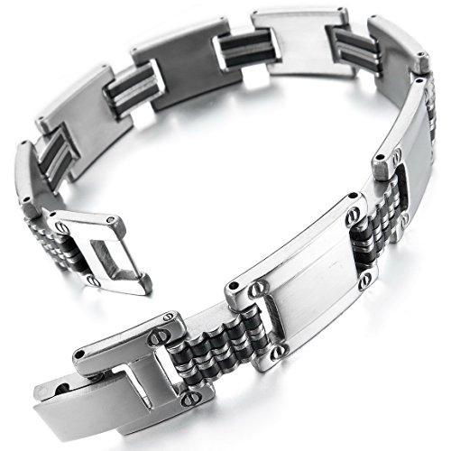 INBLUE Mens Stainless Steel Rubber Bracelet Link Wrist Silver Tone Black
