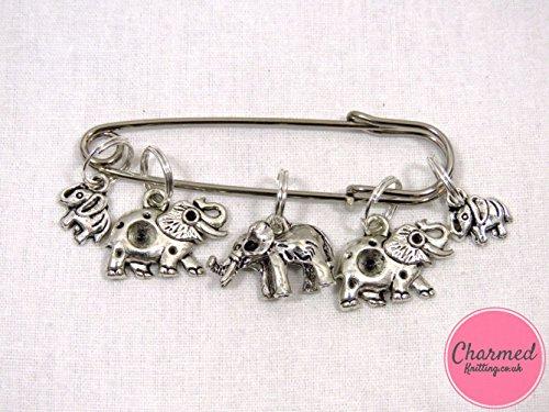 Elephant Stitch (Elephants - 5 Silver Knitting Stitch Markers)