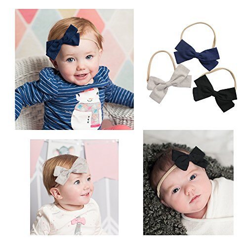 Cute Baby Hair Bows | Baby Girl Headbands Set with Soft Nylon for Baby Girls Head ()