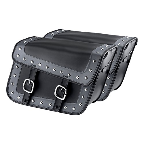 Leather Studded Motorcycle Saddlebags (Nomad USA Gray Studded Leather Large Motorcycle Saddlebags w/ Quick Release Buckles)