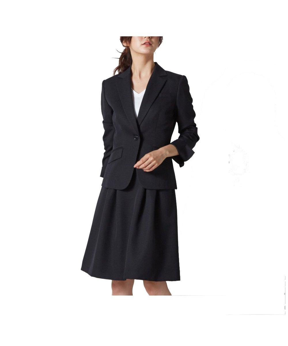 (ニッセン) nissen スカートスーツ 洗える 上下 セット ( テーラードジャケット + タックフレアスカート ) 変り織 レディース 7号 9号 11号 13号 15号 17号 B0793PPC18 17号|ブラック ブラック 17号