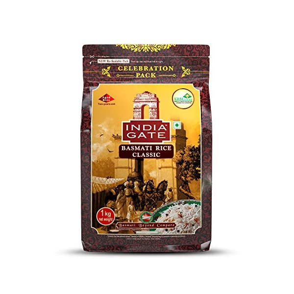 India Gate Basmati Rice Pouch, Classic, 1kg 2021 July National brand Used finest quality basmati Suitable for all food
