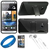 (Black) Premium 2 Tone TPU Silicone Skin Cover w/ Durable Crystal Hard Center & Pull Out Kickstand for HTC One M7 Android Smart Phone + Clear Anti Glare Screen Protector Strip w/ Cleaning Cloth + White VG Stereo Headphones with Windscreen Mic & Silicone E