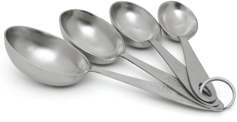 Lindy's 4-Piece Stainless Steel Scoops Measuring Spoons, 9 inches long, Silver