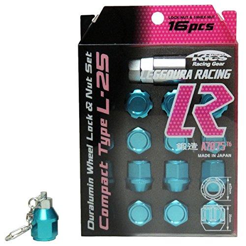 【水色ライトブルーP1.25】キーホルダー付 KYO-EI 協永産業 キックス アルミ系 カラー ホイールロックナットセット 16個セット B076BKFCRJ