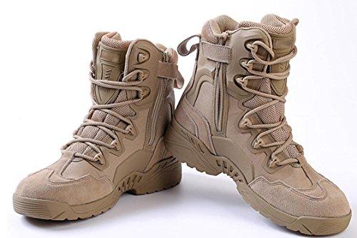 Botas para hombre Trekking Zapatos de senderismo Zapatos de cuero para exteriores Botas militares cómodas y duraderas Khaki
