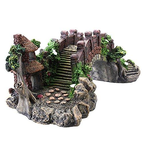Aquarium Decoration Bridge Pavilion Tree For Fish Tank Resin Ornament Decorate And Maintenance Your Aquarium