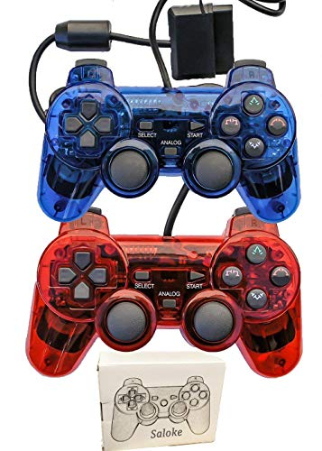 - Saloke Wired Gaming Console for Ps2 Double Shock (Clear Red and Clear Blue)