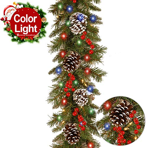 Wide Pinecone Light 3 (Christmas Garland with Lights Battery Operated Indoor/Outdoor 10 FT Garland Season Decorations for Mantel Stairs 50 LED Lights 18 Pine Cone 20 Red Berries Xmas Holiday LED Garland Lights (Multicolor))