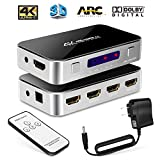 #2: [Upgrade version] 4X1 HDMI Switch with Audio Optical TOSLINK Out,Wewdigi 4K Ultra HD 4 Port 4K 2K HDMI Switcher Box Selector Audio Extractor Splitter with IR Remote [Support ARC |3D 1080p]