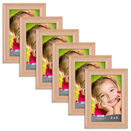 Icona Bay 4x6 Picture Frame (6 Pack, Beechwood Finish), Photo Frame 4 x 6, Composite Wood Frame for Walls or Tables, Set of 6 Lakeland Collection