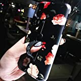 HOUOUHI 人気 iphone8 ケース iphone7 レトロ 韓国風 お花 flower 個性 iPhone X TPU保護カバー 隠れるリング スタンド機能 女性向け 綺麗 誕生日 プレゼント おしゃれ 黒 ソフトケース (iphone 7/iphone 8 (納期:約9~15営業日), 赤の花)