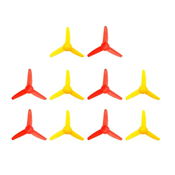 WOSKY 10 Pcs Micro DC Motor 2mm shaft propeller with 3 Vanes 80mm Fan Shape for Fan Leaves Ship Model RC Boat DIY Airplane Science and education toys