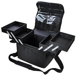 210D Black Soft Sided Makeup Train Bag Artist Cosmetic Case Brush Organizer Box