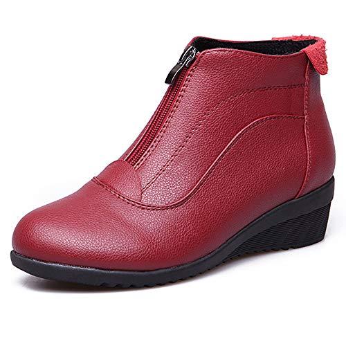 Stiefel Stiefel KUKI Rutschfeste Flache Fashion Stiefel Winter Red Herbst Runde Zehen Winter Reißverschluss Warme Stiefel Frauen Lässige Stiefel Knöchelstiefel Und Baumwoll nUqUrTXz