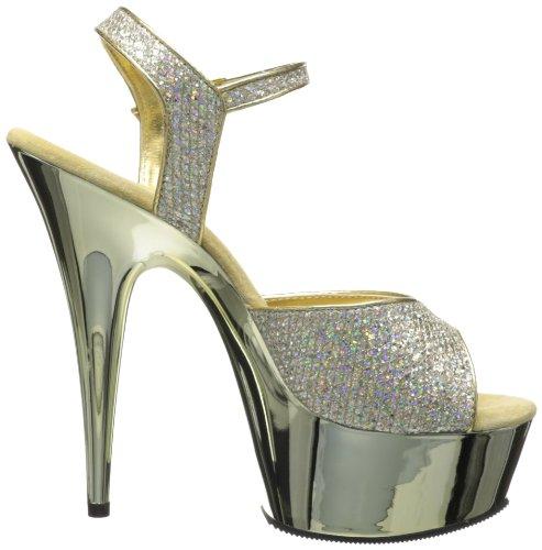 Pleaser Womens Delight-609g Sandalo Con Cinturino Fibbia Oro