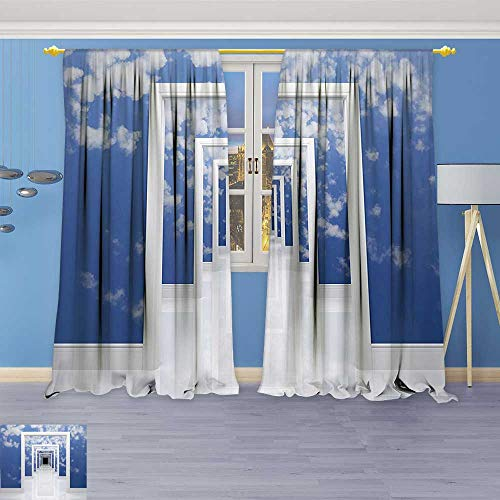 Cheap  Philiphome Linen Blend Curtains -Sky with Clouds Picture on Walls of Doorless..