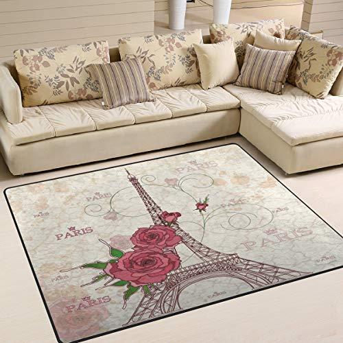 Ars Language Area Rugs Vintage Paris Eiffel Tower Rose Flower France Nursery Rugs for Kids Bedroom Livingroom Non-Slip Floor Rugs Carpet 7' x 5' -