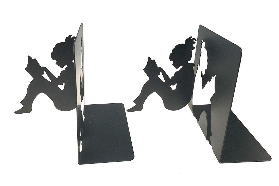 Uni-gift 3D Paper-Cut Little Girl ist Lesung Muster Metall Buchstützen für Kinder Jugendliche Lehrer Schüler Erwachsene Studie Home Schule Bibliothek Büro Dekoration Rose UniGift
