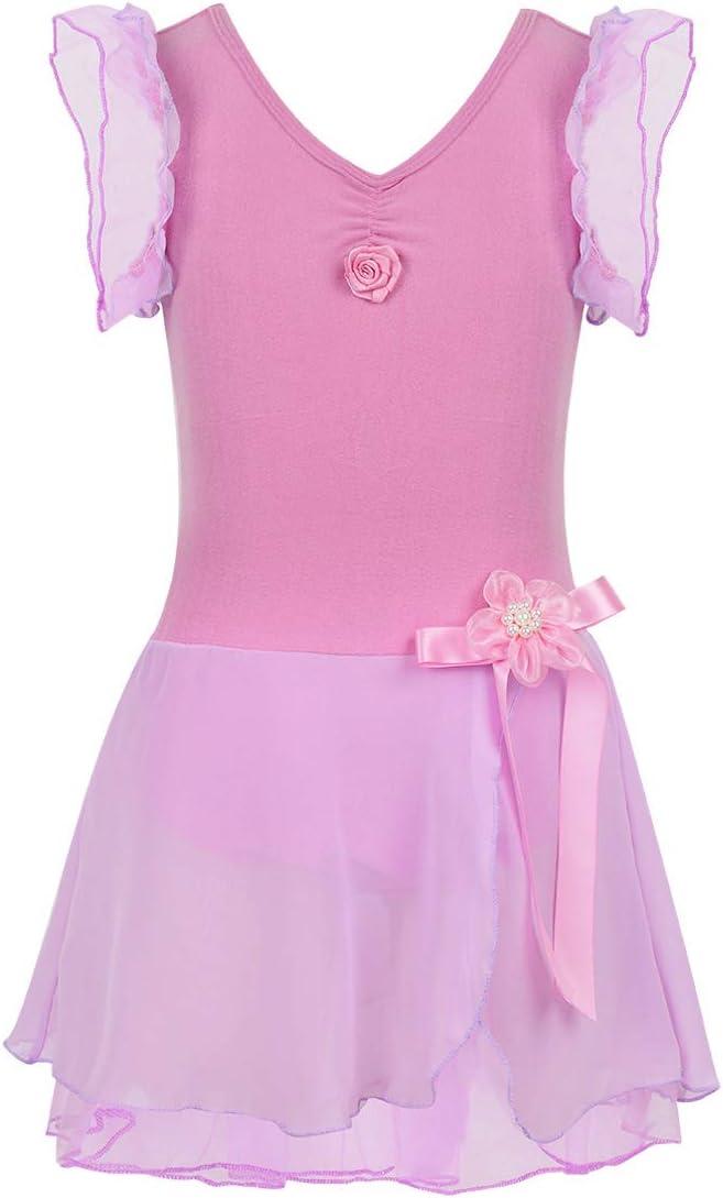 IEFIEL Vestidos de Ballet Princesa Maillot con Falda Manga Corta ...