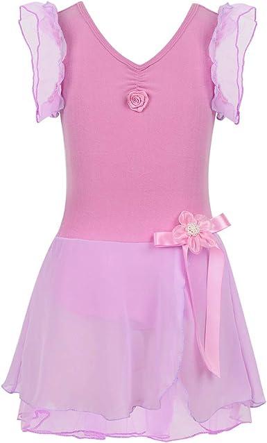 inlzdz Vestido de Ballet para Niñas (2-12 Años) Leotardo de ...
