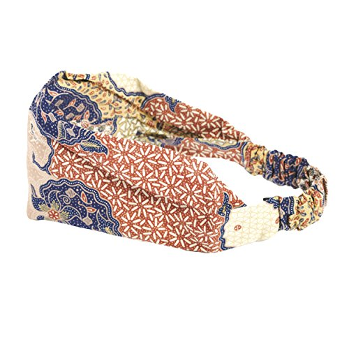 (Cotton batik headband-Blue-One)