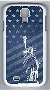 Samsung Galaxy S4 I9500 White Hard Case - Retro Statue Of Liberty And Flag Galaxy S4 Cases