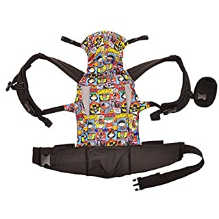 KidsEmbrace Justice League Baby Carrier, DC Comics Chibi Deluxe Carrier with Hood, Black