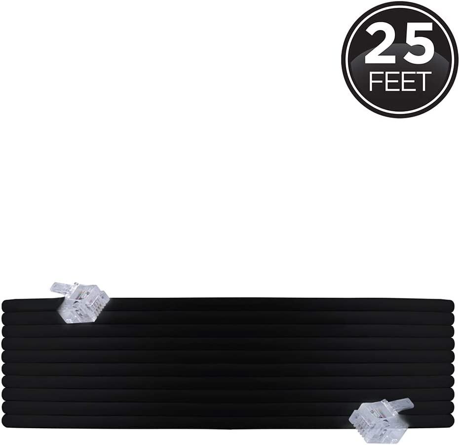 Power Gear Telephone Line Cord, 25 Feet, Phone Cord, Modular Jack Ends, Works for Phone, Modem or Fax Machine, For Use in Home or Office, Black, 76580