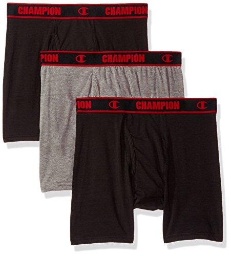 Champion Men's Cotton Performance Boxer Brief, mid Charcoal Heather/Black, Medium ()