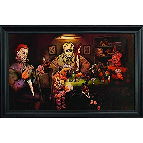 Slashers Poker Wall Art Textured Print Framed - Jason Voorhees, Freddy Krueger, Michael Myers, Chucky & Scream Poster - Scary Horror Movie Wall Art - 36x24 - Cool Unique Décor Painting by Big Chris ()