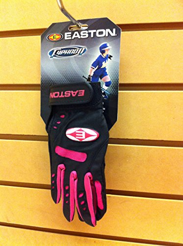 (Easton Typhoon Youth PR Batting Gloves(Black/Pink, Large))