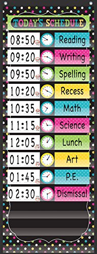 "Teacher Created Resources Chalkboard Brights 14 Pocket Daily Schedule Pocket Chart (13"" x 34"")"