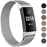 "SWEES Metal Bands Compatible Fitbit Charge 3 and Charge 3 SE, Milanese Stainless Steel Magnetic Small (5.5"" - 8.5"") Large (6.1"" - 9.9"") Replacement Strap for Fitbit Charge 3 Fitness Tracker Women Men"