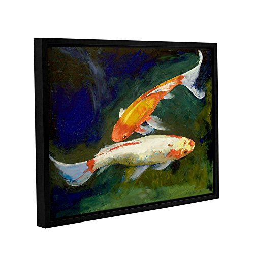 ArtWall Michael Creese's Feng Shui Koi Fish Gallery Wrapped Floater Framed Canvas, 36 by 48