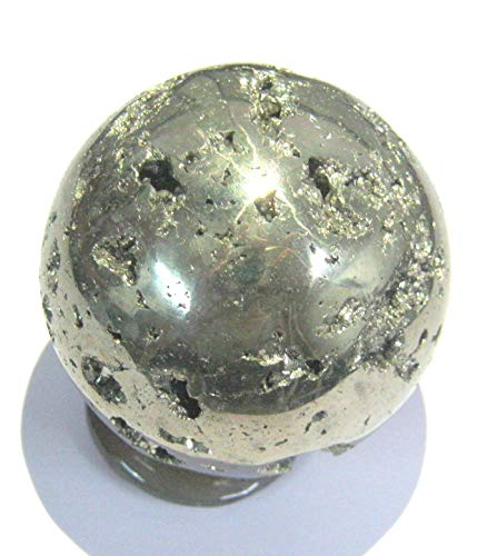 CRYSTALMIRACLE Powerful 198 Grams Golden Pyrite 45 MM Sphere Crystal Healing Metaphysical Gemstone Reiki FENG Shui Gift Energy Health Deflector