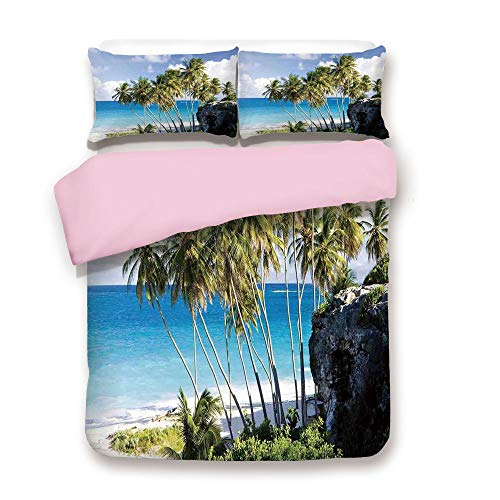 Pink Duvet Cover Set,FULL Size,Caribbean Island Overlook with Palm Tree and Ocean Exotic Destination Print,Decorative 3 Piece Bedding Set with 2 Pillow Sham,Best Gift For Girls Women,Cream Blue