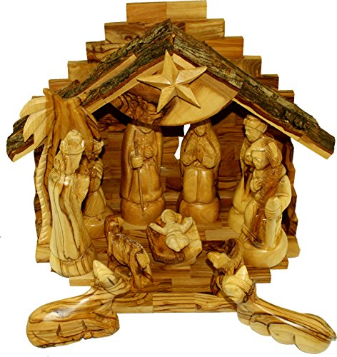 Olive Wood Silent Night Nativity (Standard Rustic Top ( 11 x 9 Inches )) by Holy Land Market