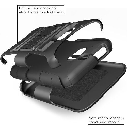 HTC One m8 Case, i-Blason Prime Series Dual Layer Holster Cover with Kickstand and Locking Belt Swivel Clip For HTC One Case 2014 for HTC One M8 (Black)