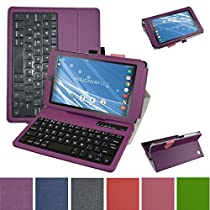 "Insignia NS-P08A7100 Bluetooth Keyboard Case,Mama Mouth Slim Stand PU Leather Case Cover With Romovable Bluetooth Keyboard For 8"" Insignia Flex NS-P08A7100 Andriod 6.0 Tablet 2016,Purple"