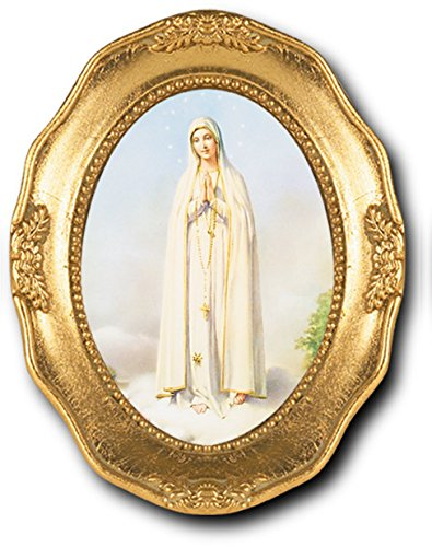 Our Lady of Fatima Italian Lithograph in Gold Leaf Stamped Oval Frame Frame 3.5